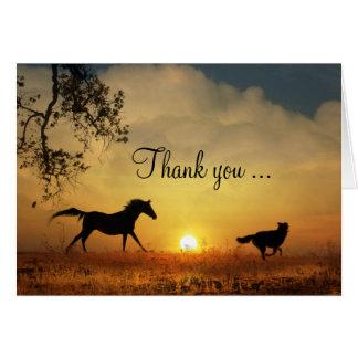 Cartões de agradecimentos Running bonitos do cão e