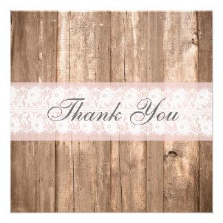 Cartões de agradecimentos rústicos do chique convite personalizados