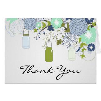 Cartões de agradecimentos rústicos do frasco de
