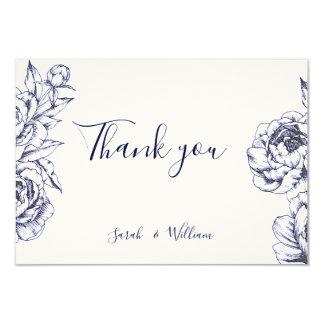 Cartões de agradecimentos simples da peônia do