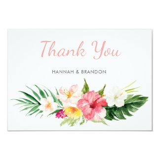 Cartões de agradecimentos tropicais da praia das