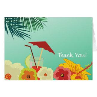 Cartões de agradecimentos tropicais do chá de