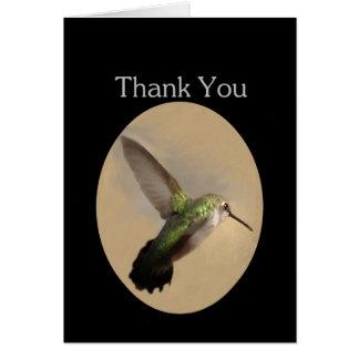 Cartões de agradecimentos vazios do colibri em vôo