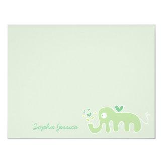 Cartões de agradecimentos verdes da menina do convite 10.79 x 13.97cm