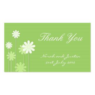 Cartões de agradecimentos verdes do casamento da m modelos cartao de visita