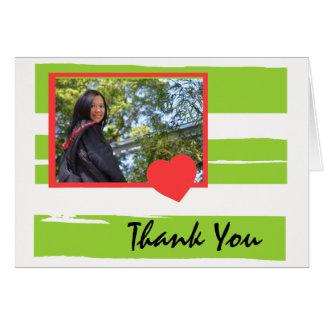 Cartões de agradecimentos verdes e brancos da
