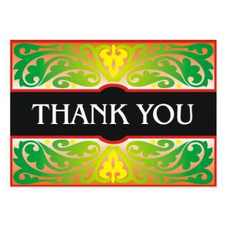Cartões de agradecimentos verdes e pretos cartão de visita grande