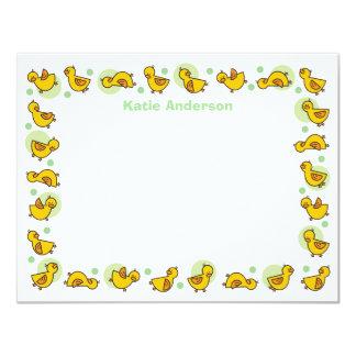 Cartões de agradecimentos verdes parvos do chá de convite 10.79 x 13.97cm