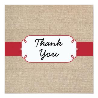 Cartões de agradecimentos vermelhos e bege convite quadrado 13.35 x 13.35cm