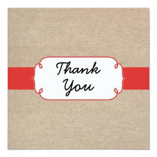Cartões de agradecimentos vermelhos e bege da convite quadrado 13.35 x 13.35cm