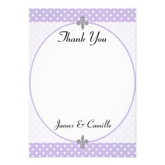 Cartões de agradecimentos violetas populares das b convites personalizados