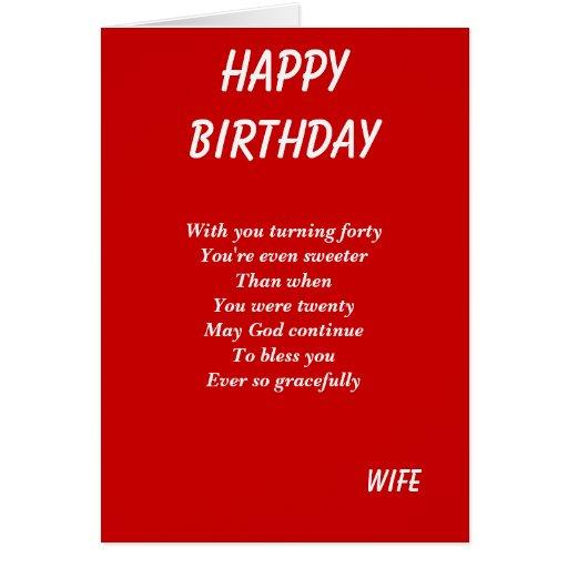 Cartões de aniversário da esposa quadragésimos