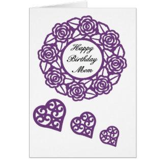 Cartões de aniversário da mamã com beira floral
