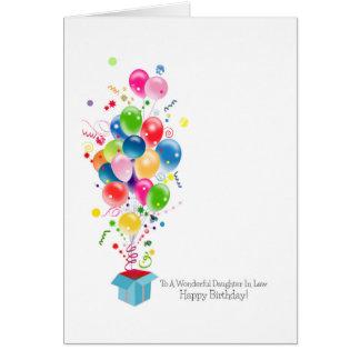 Cartões de aniversário da nora, balões coloridos