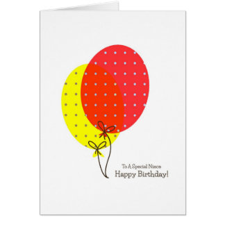 Cartões de aniversário da sobrinha, balões colorid