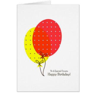 Cartões de aniversário do primo, balões coloridos