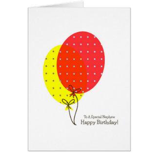 Cartões de aniversário do sobrinho, balões colorid