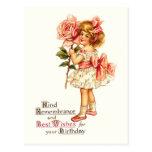 Cartões de aniversários florais bonitos do vintage cartoes postais