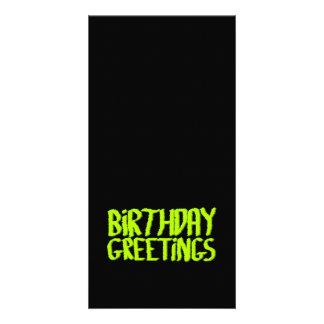 Cartões de aniversários. Verde e preto. Costume Cartão Com Foto