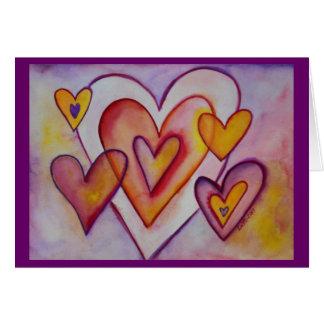 Cartões de bloqueio do costume dos corações do