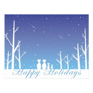 Cartões de cartões de natal felizes na noite