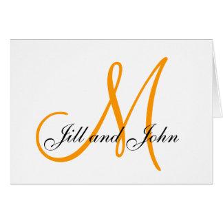 Cartões de casamento alaranjados dos nomes do
