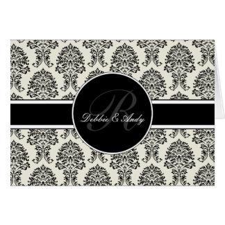 Cartões de casamento do monograma do damasco