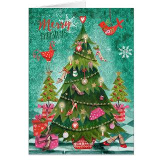 Cartões de cumprimentos femininos da árvore de