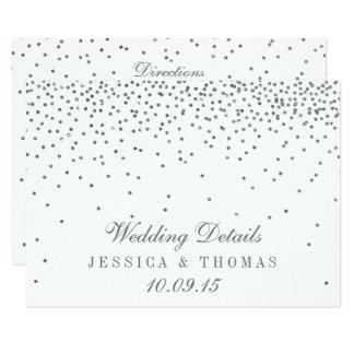 Cartões de detalhe de prata Glam do casamento dos Convite 11.30 X 15.87cm