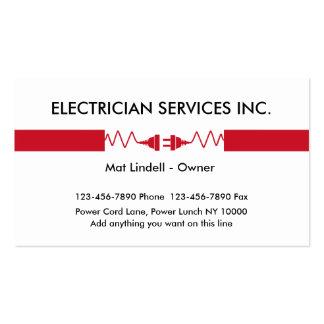Cartões de empresa de serviços do eletricista cartão de visita