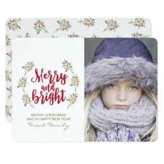 Cartões de foto de Natal alegres & brilhantes do Convite 12.7 X 17.78cm