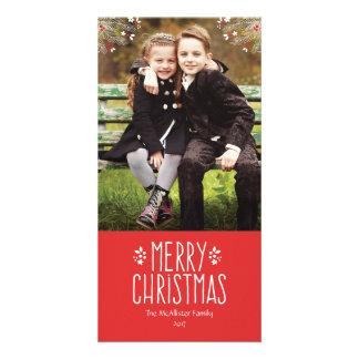 Cartões de foto de Natal alegres da baga Cartão Com Foto