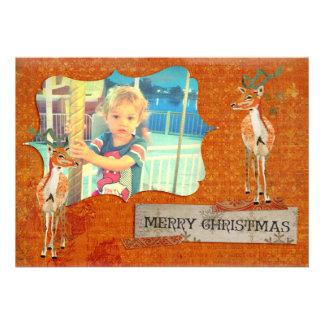 Cartões de foto de Natal ambarinos do fanfarrão Convites Personalizados