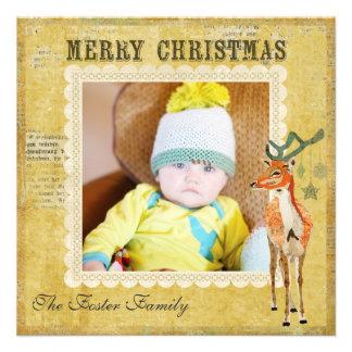 Cartões de foto de Natal ambarinos do fanfarrão Convite Personalizado