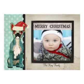 Cartões de foto de Natal azuis do buldogue francês Convites Personalizados