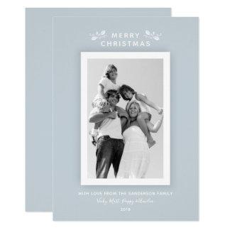 Cartões de foto de Natal azuis mínimos modernos