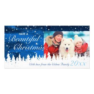 Cartões de foto de Natal azuis personalizados do