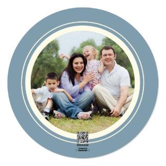 Cartões de foto de Natal azuis redondos elegantes Convite Quadrado 13.35 X 13.35cm