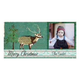 Cartões de foto de Natal Azure dos cervos da linha Cartoes Com Foto