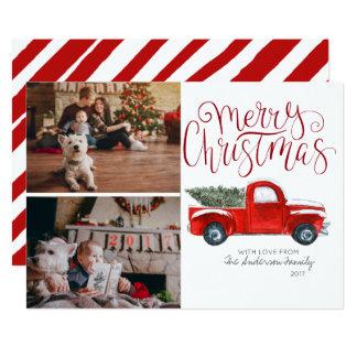 Cartões de foto de Natal - caminhão do vermelho do
