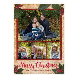 Cartões de foto de Natal clássicos das bagas 5x7