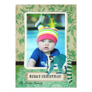 Cartões de foto de Natal cor-de-rosa do jade do Convite 13.97 X 19.05cm