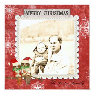 Cartões de foto de Natal cor-de-rosa do vermelho Convite Quadrado 13.35 X 13.35cm