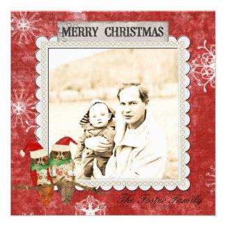 Cartões de foto de Natal cor-de-rosa do vermelho d Convites Personalizados