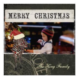 Cartões de foto de Natal cor-de-rosa retros do pre Convite Personalizados