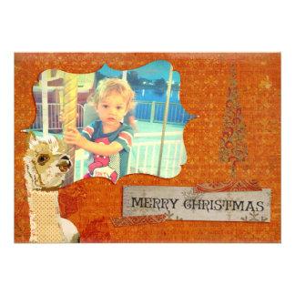 Cartões de foto de Natal da alpaca do ouro Convite Personalizado