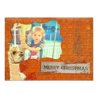 Cartões de foto de Natal da alpaca do ouro Convite 12.7 X 17.78cm