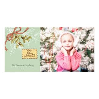 Cartões de foto de Natal da arte do visco do Cartão Com Foto