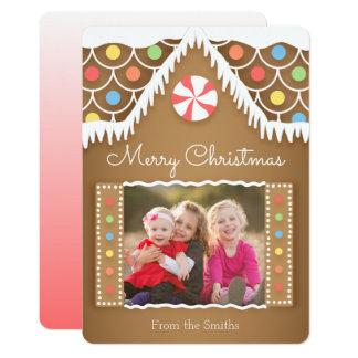 Cartões de foto de Natal da casa de pão-de-espécie