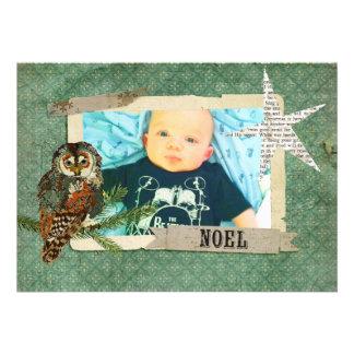 Cartões de foto de Natal da coruja do âmbar & da c Convites